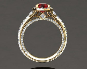 Ruby Engagement Ring 1.50 Carat Ruby And Diamond Ring In 14k or 18k Yellow Gold Style Number VS2RUBYY