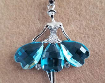 Lovely Blue Ballerina /  Dancing Lady Necklace