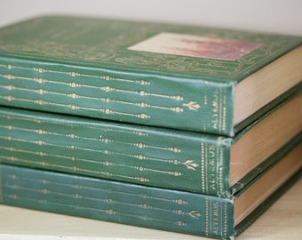 Set of Three Green Color Antique Books