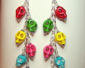 Skull Dangle Earrings for Women, Long Dangly Colored Skull Jewelry, Colorful Skull Accessories, Howlite Gemstone Skull, Skull Gifts for Her