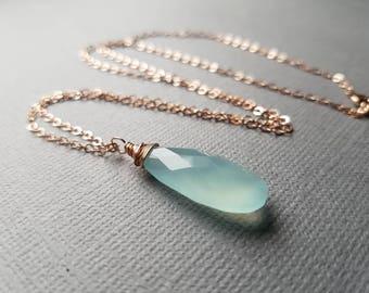 Aqua Chalcedony Necklace, Gemstone Jewelry, Aqua Gemstone Necklace, Chalcedony Jewelry, Rose Gold, Aqua Jewelry, Gift for Her