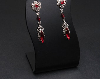 Vampire Earrings - Gothic Earrings with Red Crystals - Victorian Gothic Jewelry