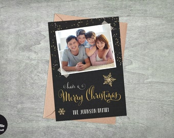 Merry Christmas - Photo Holiday Greeting Card, Printable Personalized Xmas Greeting, Festive Seasonal Photo Card, Gold Glitter, Calligraphy