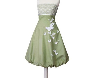 LITTLE QUEENS - dress in lime green, light green, green, butterflies, white, lace, bridal bridesmaid, wedding, summer dress