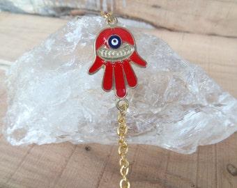 Red Hamsa and Gold Chain Bracelet, Evil Eye Bracelet, Nazar Bracelet, Women for Protection, Turkish Jewelry, Gift for Her, Mother's Day Gift