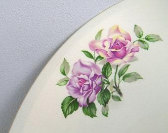 Vintage Paden City Pottery Serving Platter Pink Roses 50's
