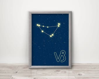 Zodiac Capricorn constellation and sign art print Astrology home decor Horoscope birthday gift Astrological wall sign with stars