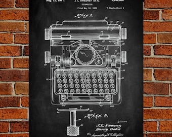Typewriter Art Print, Typewriter Patent, Typewriter Vintage, Typewriter Blueprint, Typewriter Print, Typewriter Prints, Wall Art, Decor