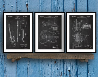 Fender Guitar Poster - 3 PACK,  Fender Guitar Blueprint, Fender Guitar Patent, Fender Guitar Prints, Fender Guitar Art, Guitar Decor