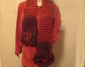 Hand Knit Red Scarf, Soft 88 Inch Long Knit Scarf, OOAK Warm Hand Knit Scarf, Loose Knit Red Scarf, Hand Knit Synthetic Yarn Scarf