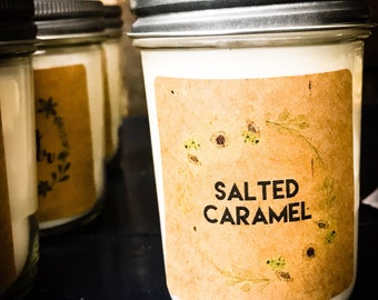 Salted Caramel 8 oz Ultra-scented Soy Candle