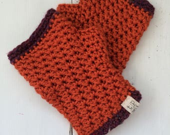 Photog Fingerless Gloves in Harvest Sunrise - Crochet Arm Warmers