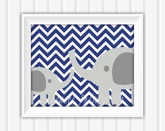Elephant Wall Art, Navy and Gray Art, Printable Wall Art, Instant Download,Childrens Wall Art, Kids Wall Art, Nursery Wall Art, DIY Wall Art