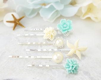 Starfish Bobby Pin - Beach Wedding Hair Pins - Turquoise Bobby Pin Set Decorative - Pearl Bridal Hair Accessory - Bridesmaid Ask Gift H4037