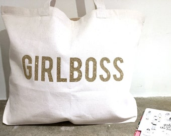 GIRL BOSS TOTE /// Glitter Girl Boss Tote Bag