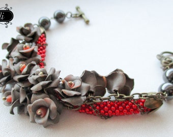"""Bracelet with flowers made of polymer clay """"Metallic beauty"""""""