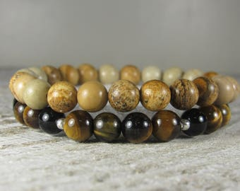 Picture Jasper and Tiger Eye Double Stacked Bracelets -- Men / Unisex