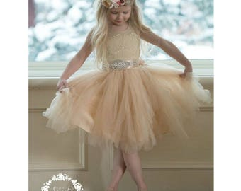 Champagne Lace Flower girl dress, White Tulle flower girl dresses,rustic flower girl dress,infant Toddler Girl dresses, flower girl dresses.