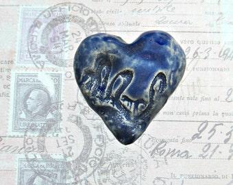 ceramic  heart , bead for necklaces, clay heart bead, ceramic bead -  # 174