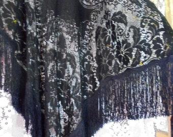 Black lace shawl  wrap fringe tassels boho vintage wedding rustic shabby 20s   bohemian   by vintage opulence on Etsy