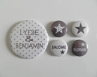 1 magnet 56 mm + 4 25mm personalized polka dot magnets