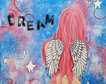 Dream Angel Giclee Print 10x10 Mixed Media