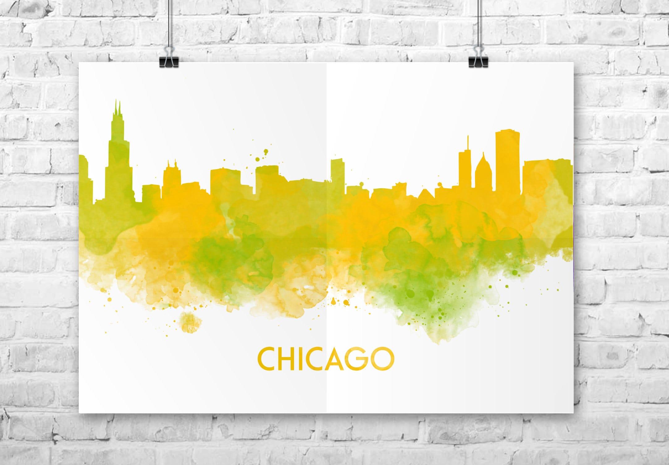 Chicago skyline printable Chicago print city skyline