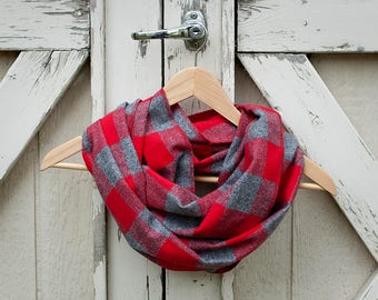 Buffalo Plaid Flannel Scarf Red and Gray Plaid Flannel Scarf Red and Gray Buffalo Plaid Scarf Ladies Plaid Scarf Girls Plaid Scarf