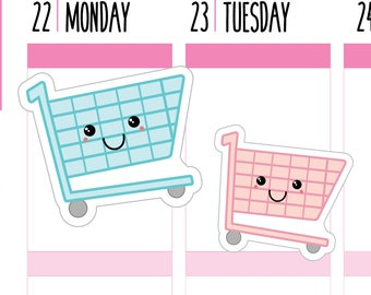 Shopping Planner Stickers, Shopping Trolley, Shopping Stickers, Trolley Stickers, Kawaii, Happy Planner Stickers, Erin Condren Stickers.