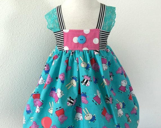 Peppa Pig and Friends Hattie Dress By Hello Lalla Collection Baby Toddler Girls Princess Birthday Photo Dress