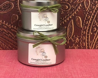 Cowgirl Leather -Container Candle - 4oz candles - 8oz candles - Candle Gift - Scented Candles