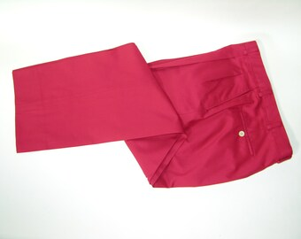 newer vintage Men's -Hickey Freeman- pleat front trousers. RED - Bobby Jones Collection. Cotton. 34 Waist