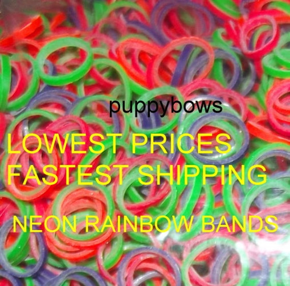 Puppy Bows ~ NEON rainbow Dog Grooming Bands ~2500 quantity bags elastic dog bows bow TOPKNOT band ~Usa seller