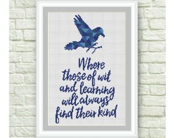 BOGO Free!Ravenclaw Cross Stitch Pattern, Hogwarts Cross Stitch Chart, Harry Potter, TV Show Counted Cross Stitch,PDF Instant Download,S102