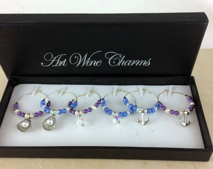 Wine Glass Charms, Ocean wine charms, Wine Lover Gift, Wine Charms, Wine Gift, Birthday Gift. BFF Gift, Party Favors, Barware, Hostess gift