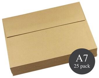 25 - A7 Kraft Straight Flap Envelopes - Kraft Envelopes -  5 1/4 x 7 1/4 - Grocer Kraft
