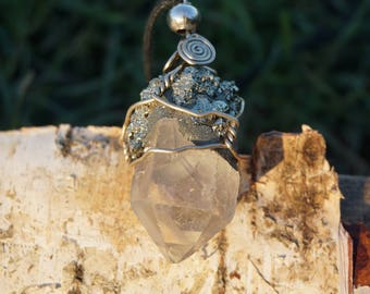 Hand Made Quatz Crystal with Pyrite