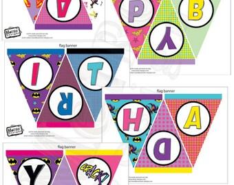Female Super Hero Banner, Super Hero  Banner, Girl Super Hero Banner, Birthday Banner, Party Banner, Party Decorations