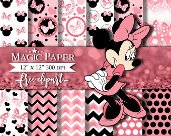 Minnie mouse Digital Papers, Paper, Clipart Clip Art