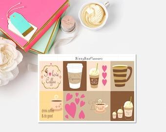 Coffee Love Fullboxes-ECLP-Happy Planner-Fullbox Planner Stickers-Coffee Planner Stickers