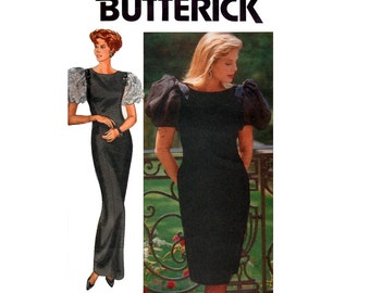 Butterick 4463 RIMINI Womens Puff Sleeve Prom Wedding Formal Dress 80s Vintage Sewing Pattern Size 8 10 12 UNCUT Factory Folded