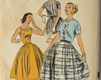 "Vintage 1950s Sewing Pattern Advance 8003 Fit and Flare Dress Bateau Neckline Full Skirt Short Sleeve Jacket UNCUT FF Bust 30"""