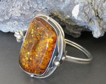 Amber cuff bracelet, sterling silver cuff, bangle bracelet, marked 925, vintage, large, 40.3 grams