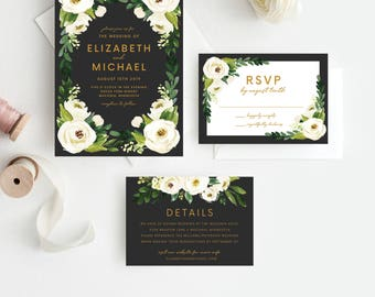 Greenery Floral Wedding Invitation Template, Flower, Floral, Green Leaves, Sprigs, Script, Greenery, Leaves, Foliage, Organic, 105