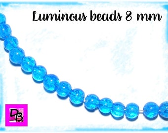 Lot # 10 beads # 8mm # glass # lampwork # luminous # pearls # phosphorescent deepskyblue # murano # dollydoo # diy # hobby