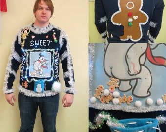 Made to Order Funny Frosty's Sweet Treats Tacky Ugly Christmas Sweater Light up,  Mens Womens Frozen Gingerbread Men Snowball Treats Poop
