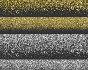 Glitter Borders, Glitter Clipart, Glitter Clip Art, Glitter Overlay, Printable Commercial Use