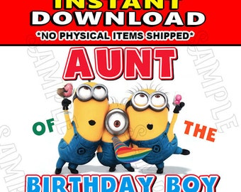 Instant Digital Iron On JPG File Download - Disney Minions Stuart Kevin and Bob Aunt of the Birthday Boy design for DIY T-Shirt