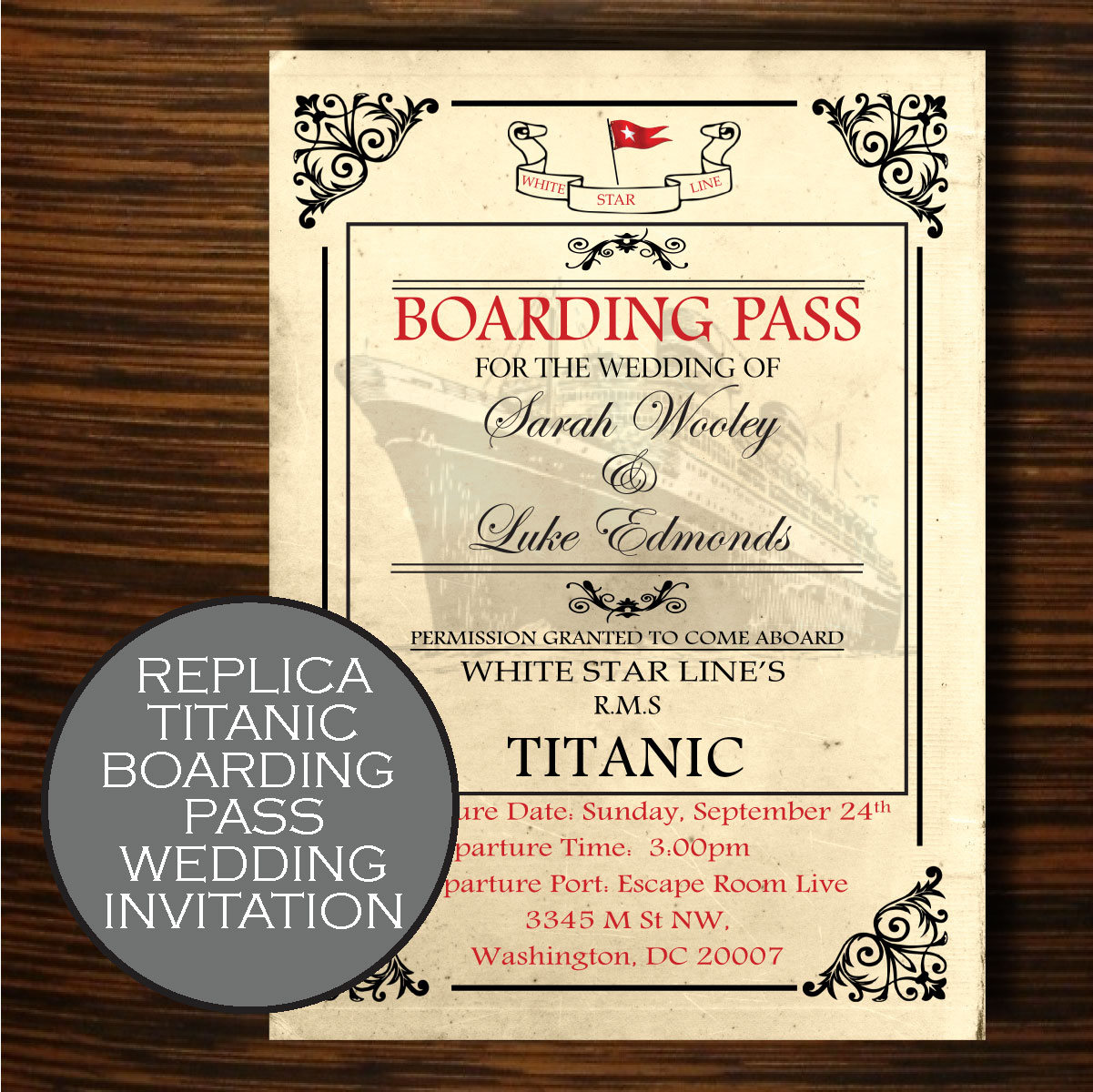Titanic themed wedding titanic wedding invitation titanic zoom pronofoot35fo Images
