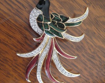 Vintage 80s Large Bird Brooch with Long Feathers in Enamel and Pave Rhinestones